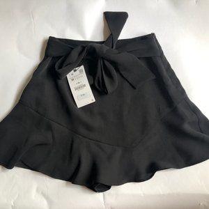 Zara Women's High Waisted Belted Skort Size M NWT